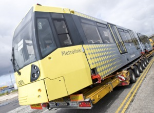 Metrolink tram being delivered