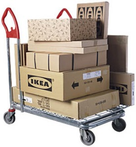 Boxes from IKEA on a trolley