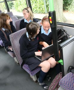 School children on the bus