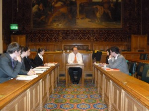 Young people and Norman Baker MP in Committee Room
