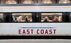 Close up of East Coast train