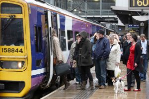 Passengers boarding a Northern Rail train