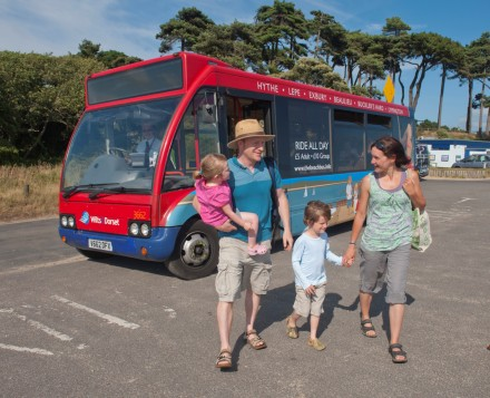 Family on Beach Bus, Lepe, New Forest National Park