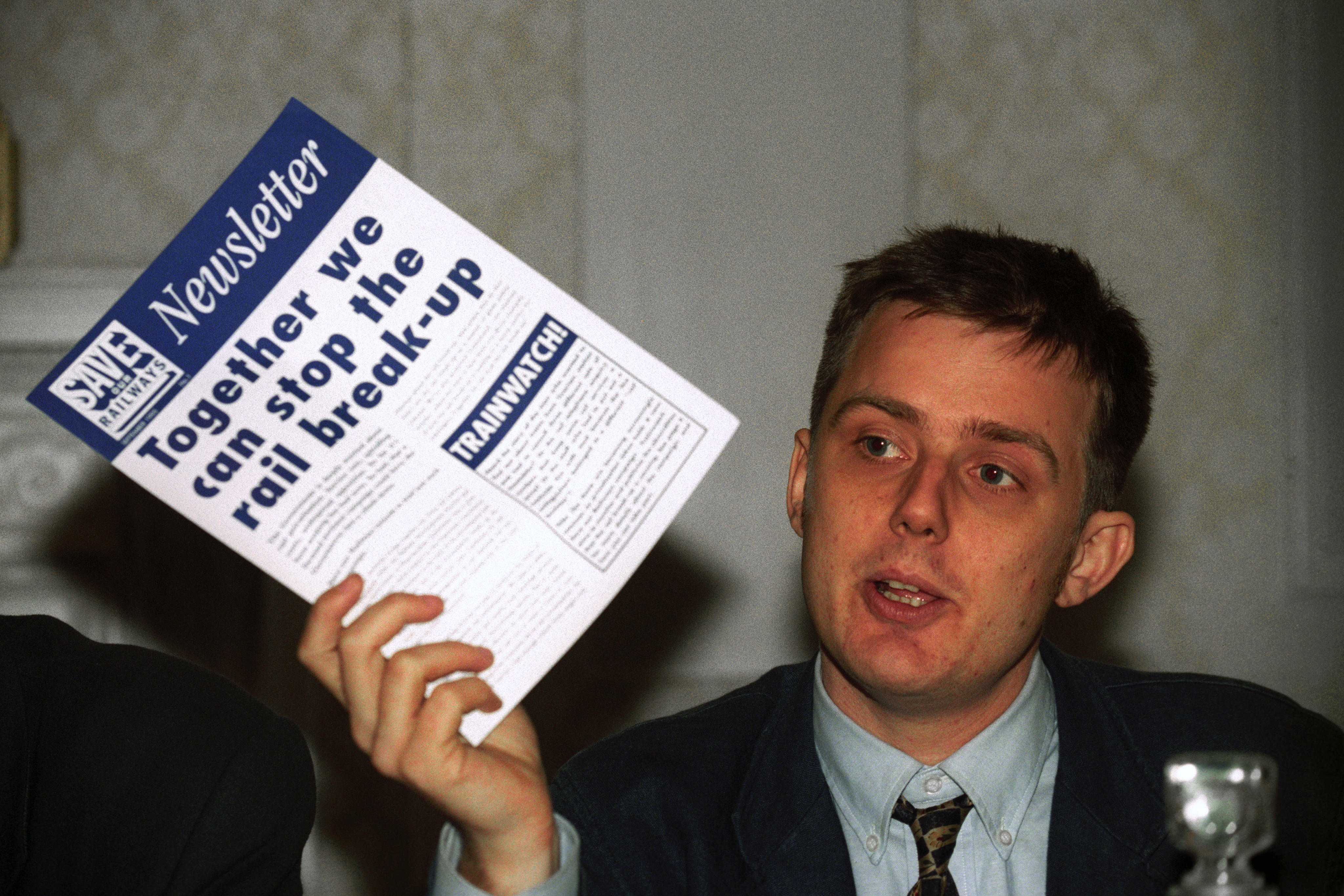 Jonathon Bray, the co-ordinator of the pressure group Save Our Railways, at a London news conference where he announced a legal challenge in a bid to overturn cuts to train services under privatisation.